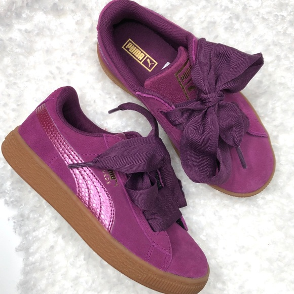 reputable site d612b df8e5 NWOT Puma Girls Suede Heart Sneaker SZ 1.5 Purple
